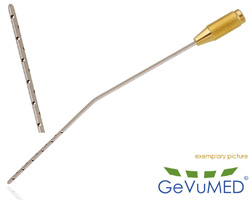 ENTNER Liposuction Kanüle - 22 Löcher - jedes Loch Ø 1,5 mm - Durchmesser Ø 3,0 mm - Arbeitslänge 20 cm - abgewinkelt